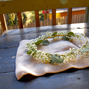 Babys breath and eucalyptus gold crown
