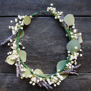 Mixed crown, baby's breath, lavender, and eucalyptus