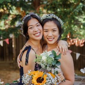 Backyard wedding florals