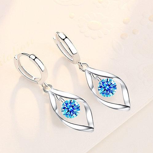 925 Sterling Silver Zircon Reduction Silver Earrings Rotating Love Pearl Earring