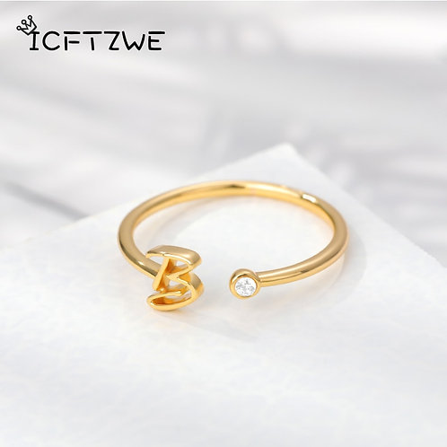 Steel Gold A-Z 26 Letters Ring Creative Finger Rings Jewelry Wholesale