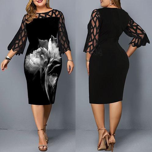Midi Ladies Floral Dress Plus Size Black Mesh  Wedding Party Dress Sleeve Dress