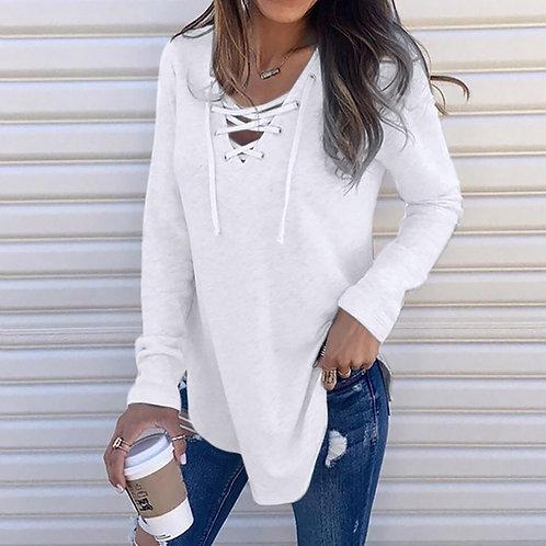 Shirt Women Solid v Neck Long Sleeve Shirt Top Women's Clothes Ropa De Mujer
