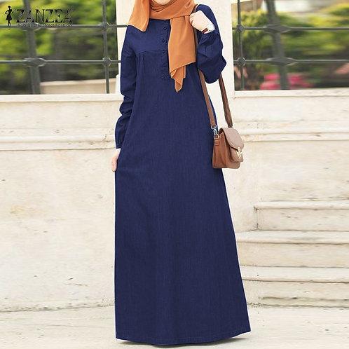 Long Sleeve Solid Maxi Sundress Vintage Autumn Denim Blue Casual Kaftan Robe 5XL