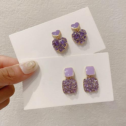 Purple Shiny Crystal Women Earrings Sweet Heart Fashion Drop Earrings Jewelry