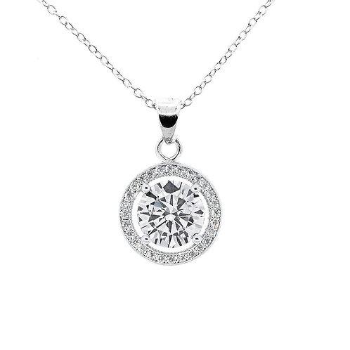 Blake True 18k White Gold Halo Pendant Necklace