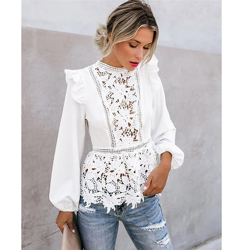 Blouse Long Sleeve Floral Lace White Tops Hollow  Female  Clothing