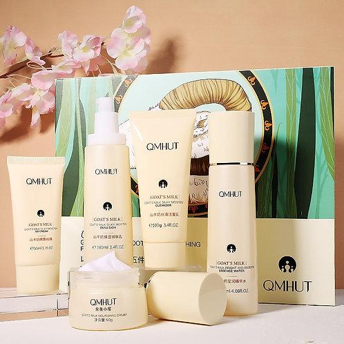 Goat Milk Set Soft Skin Care Facial Care  Five-Piece Box  Cleans Pores and  Dirt