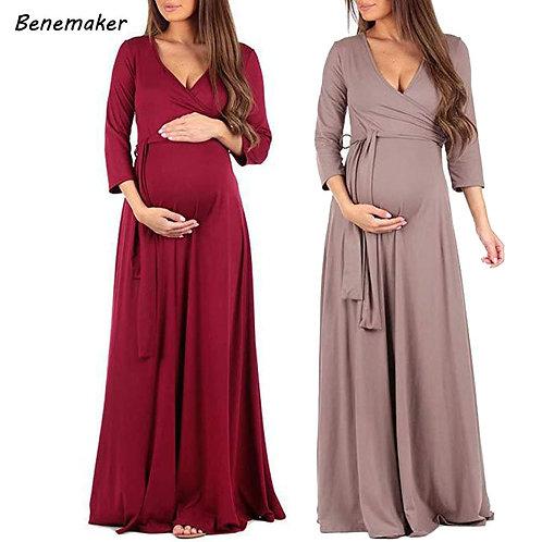 Maternity Clothes Dresses fWomen V-Neck Dress Pregnant Female  Clothing