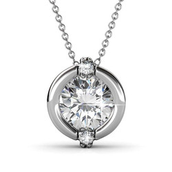 Blake True 18k White Gold Halo Pendant Necklace