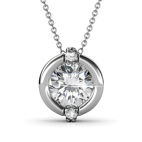 18k Rose Gold Chain Pendant Necklace with Swarovski Crystal,