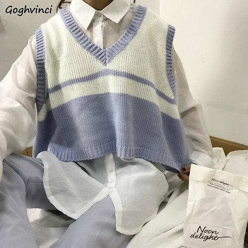 Sweater Vest Women Striped Loose Preppy SleevelessStyle Autumn Winter Outwear