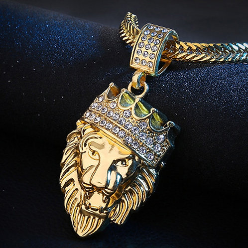 Necklace Mens Full Iced Rhinestone an Lion Necklaces Pendants Gold Jewelry