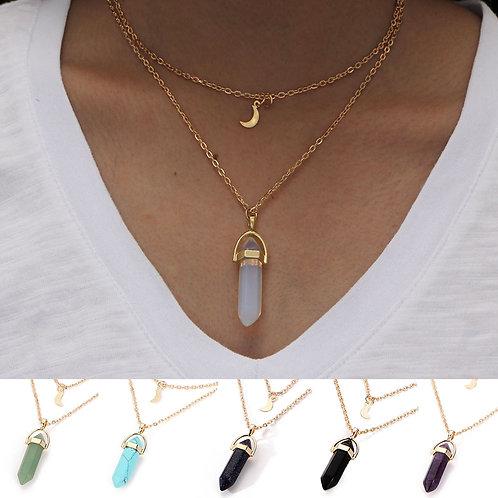 Womens Natural Stone Pendant Crystal Glass  Column Necklace Women925 Чокер