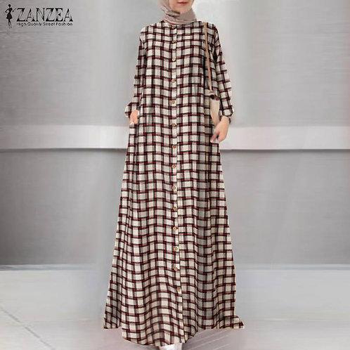Fashion Womens Long Sleeve Plaid Check Long Plus Size Hijab Dresses Robe Kaftan