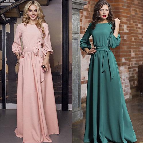 Vintage Bow Tie Long Pink Dress Women Lantern Sleeve