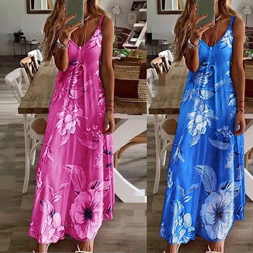 Womens Plus Size Dress Sexy Floral Print Sleeveless Party Dresses Summer 2021 ★