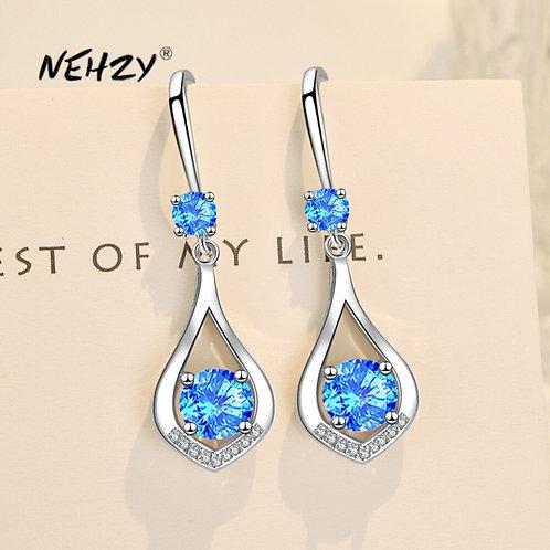 925 Sterling Silver New Zircon Heart-Shaped Hollow Long Tassel Hook Earrings