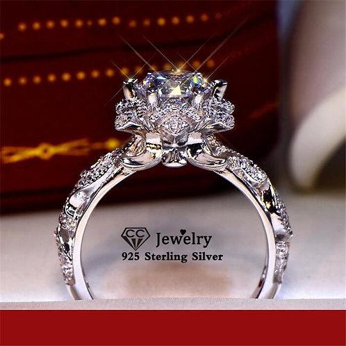 Women S925 Silver Stamp Hollow Flower Cubic Zirconia Vintage Fine Jewelry Bridal