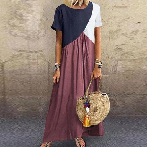Long Maxi Dresses for Female Casual Dress Short Sleeve