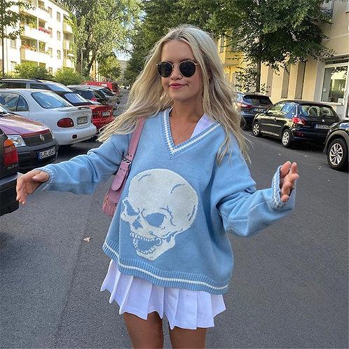 4 Color Women Long Sleeve Skull Print Knit Sweaters Soft V-Neck