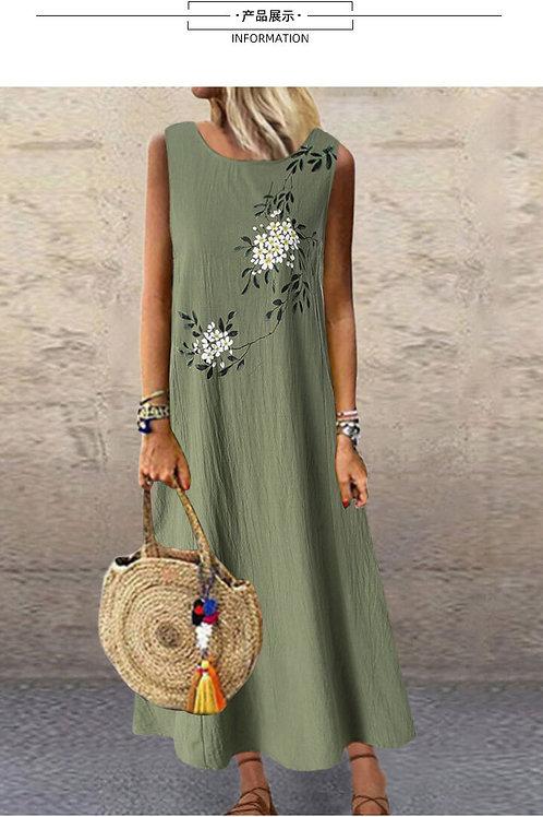 Sundress Printing Sexy Loose Sleeveless Printed Long Maxi Dress