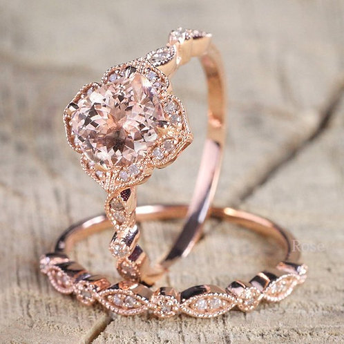 Fashion 18K Rose Gold Natural 2.8CT Square Diamond CZ Ring Set