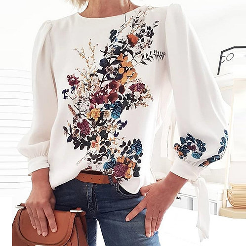 Women  Printed Blouse Shirts Long Sleeve Loose  Spring Fall New Trends Top Shirt