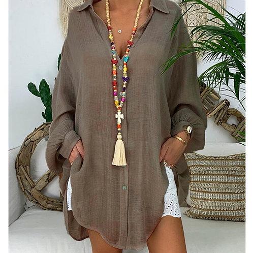 5XL Plus Size Tops Cotton Linen Shirt Women Long  Turn Down Collar Shirts