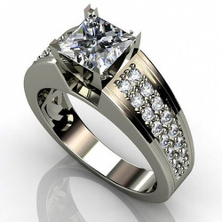 Women's Zircon Square Simulation Flash Diamond Ring