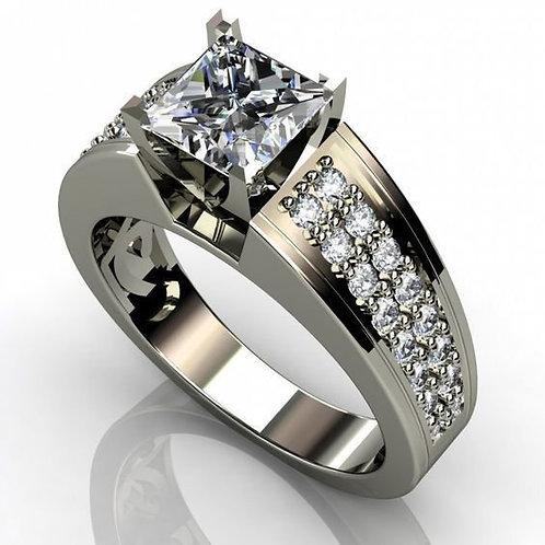 Women's Zircon Square Simulation Flash Diamond Ring