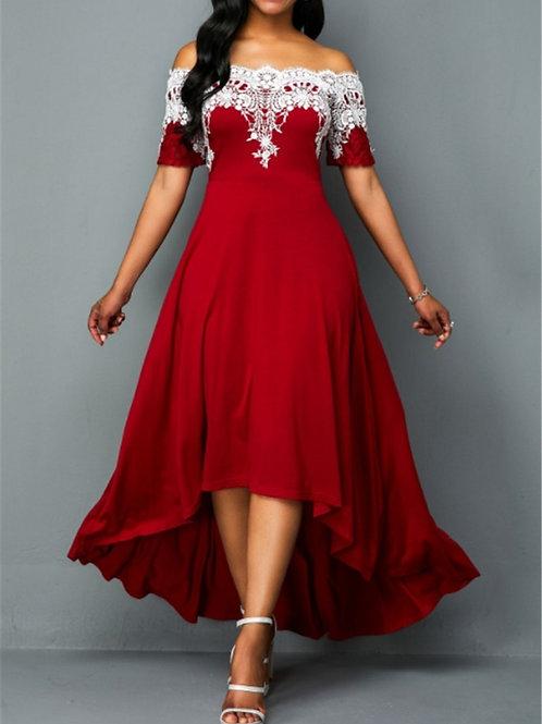 Plus Size 5xl One-Shoulder Lace Irregular Dress Slim Party Dress Casual Summer