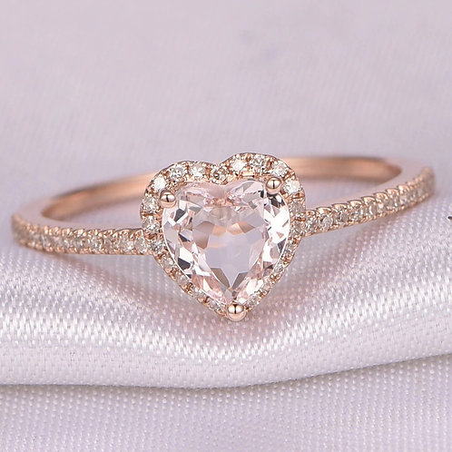 Crystal Heart Shaped Wedding Rings