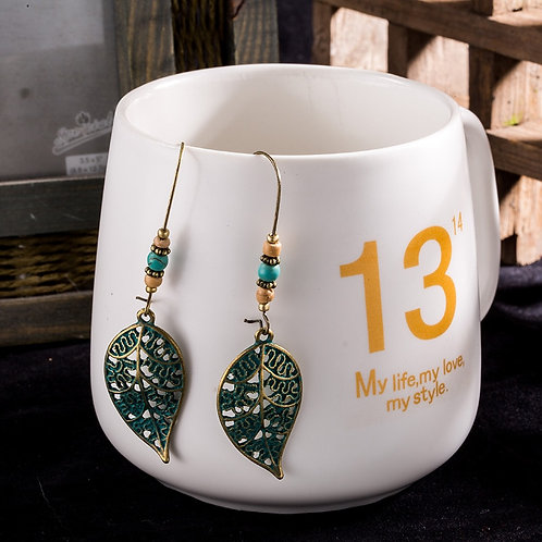 Cute Antique Alloy Leaf Earrings Hanging Drop Bohemian Ethnic Jewelry Bridal