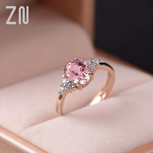 Pink Oval Crystal Ring for Women