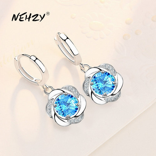 925 Sterling Silver 2021 New Women's Fashion High Quality Simple Flower Earrings