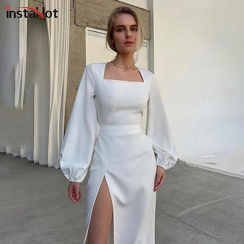 InstaHot Elegant Women's Dress Party Split Side Puff Sleeve Solid Slim