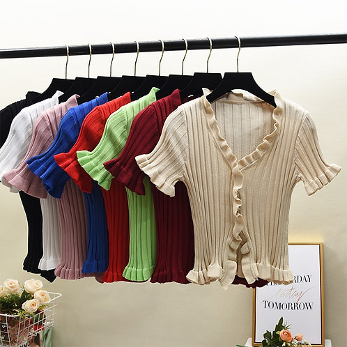 Women Ruffles Knitted Short Cardigans Lady Single-Breasted Summer Thin Sweater