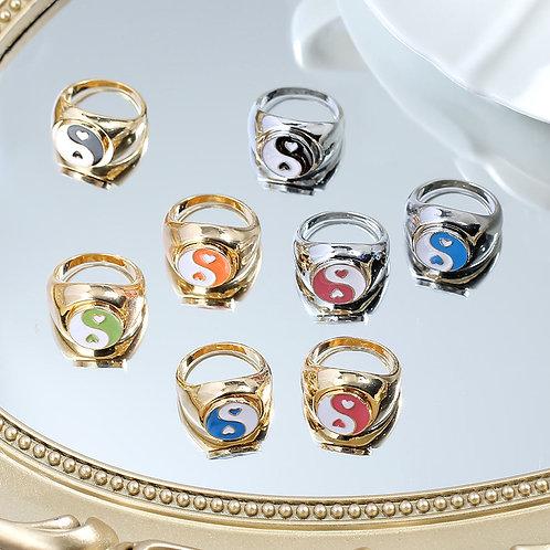 Heart Metal  Silver Color Cute Enamel Animal Plant Rings Jewelry Gift