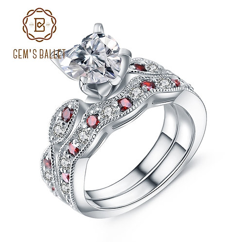 925 Sterling Silver Double Ring Sets for Women Diamond Wedding Ring Fine Jewelry
