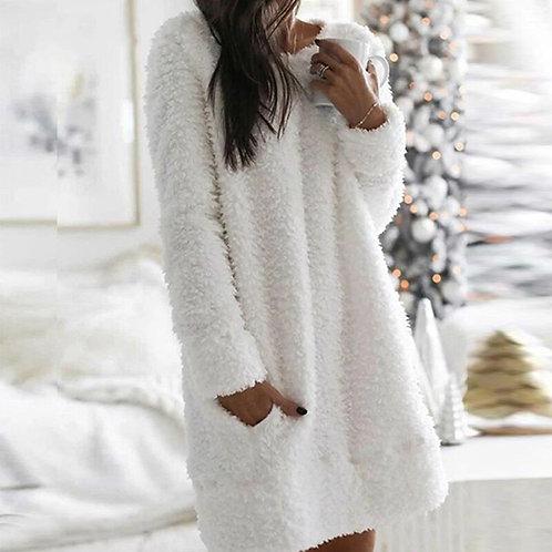 Elegant O Neck Plush Mini Dresses