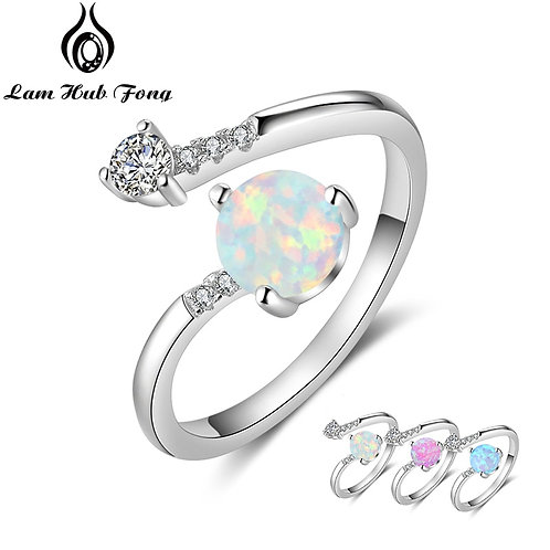925 Sterling Silver Created Round Blue Opal Rings for Women Cubic Zirconia