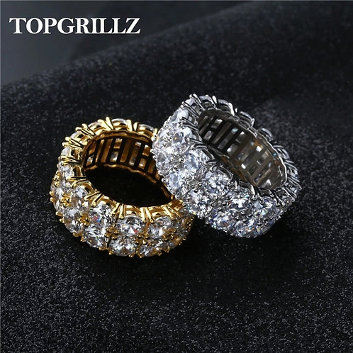 Gold/Silver Color Iced Out Charm Round Ring Band Classic Jewelry for Gifts