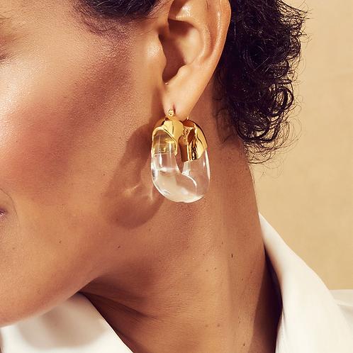 2021 Style Transparent Resin U-Shaped Metal Earrings Personality