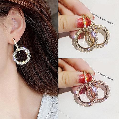 New Fashion Earrings Luxury Round Diamond Earrings Silver Gold Rosegold Glitter