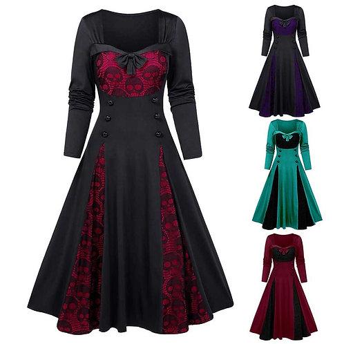 New Dresses Vintage Women Long Dress Plus Size Gothic Clothes Skull Lace Insert