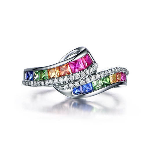 Women's 18K Gold Inlaid Diamond Rainbow Colored Gemstone Row Ring
