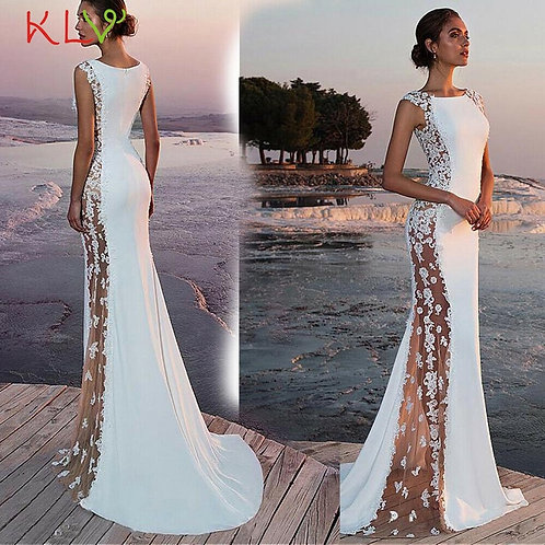 Long Dress White Hollow Lace See Through Sexy Wedding Party Formal Ladies Women