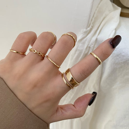 Metal Alloy Hollow Round Opening Women Finger Ring