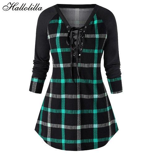 Fashion Robe Femme Casual Women  Women Dress A-Line Plaid Full Plus Size 5XL